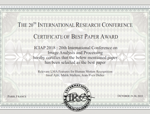 Insaf Ajili a reçu le prix du «Best Paper Award» dans la conférence ICIAP'2018 !